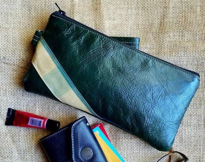 Leather Wristlet in Winter Green Exterior / Golden Maze Interior
