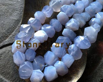 Faceted Periwinkle Botswana Agate Nugget Beads,Natural Semi-Precious Gemstone Beads,Loose Cut Blue Lace Agate Beads Full Strand 13x18mm
