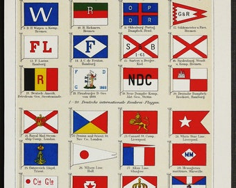 1897 Antique lithograph of SHIPPING COMPANY FLAGS. Naval flags. Navigation. 121 years old nice print