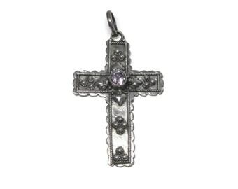Vintage Sterling Amethyst Cross Pendant
