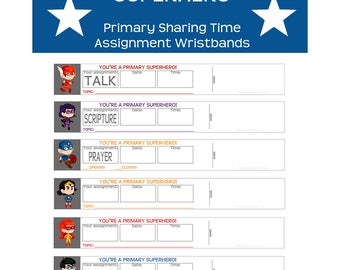 Primary Sharing Time Assignment Wristbands Reminder bands prayer scripture talk
