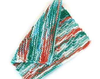 """Dishcloth, """"Ahoy"""" Washcloth, Gift, Hostess Gift, Eco Friendly, Cotton Kitchen Cloth,Hand Knit Dishcloth,Face Cloth,Housewarming,Gift for Her"""