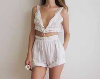 90s Cotton High Waist Shorts M L