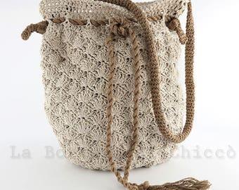 Crochet bag, linen bag, hand made bag, cotton bag, crochet summer bag.