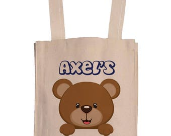 Personalized Canvas Book Bags With Gusset - Canvas Tote Bag - Kids Book Bag - Teddy bear Book Bag