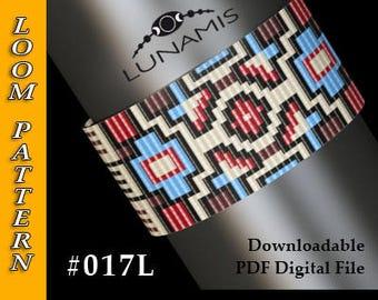 Loom bracelet pattern, loom pattern, square stitch pattern, pdf file, pdf pattern, cuff, #017L