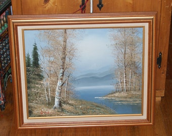 Vintage Oil Painting Of A Lake By Rodell