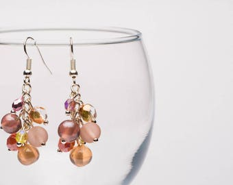 Antique Pink Glass Bead Earrings