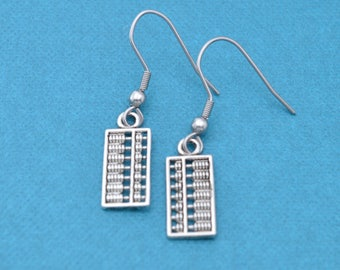 Abacus earrings in silver toned metal.  Gift for accountant.  Accoutant gift.  Accountant.  Abacus earrings.  Abacus charm.