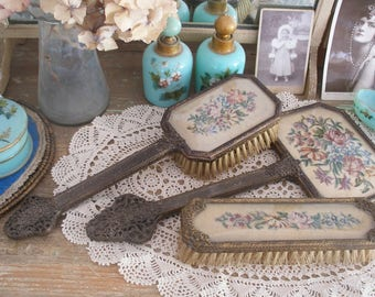 Vintage petit point brushes, mirror set for dressing table