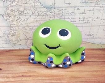 Green Octopus Piggy Bank, Octopus Piggy Bank, Piggy Bank, Baby Bank, Green Piggy Bank, Baby Shower Gift, Ringer Bearer Gift, Boy Octopus