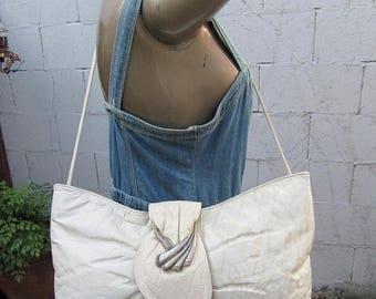 On Sale 80s Leather Clutch Large Oversize Crossbody Bag Purse Glam 1980s Vintage Convertible handbag