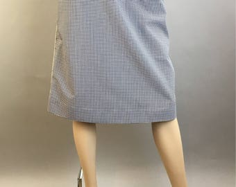 Gingham Skirt// Vintage 70s Gingham Skirt With White Piping// Vintage 70s A-line Gingham Skirt