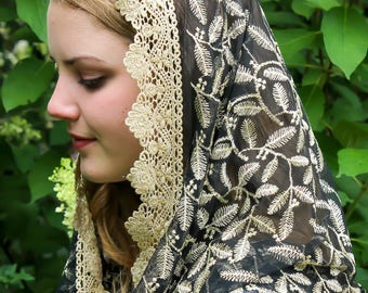Evintage Veils~ Black and Gold Embroidered Lace Chapel Veil Mantilla Infinity Veil Latin Mass