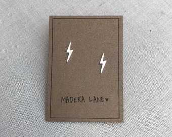 Tiny Lightning Bolt Stud Earrings in Sterling Silver. Sterling Silver Posts. Electric stud earrings. Minimalist Everyday Jewelry.