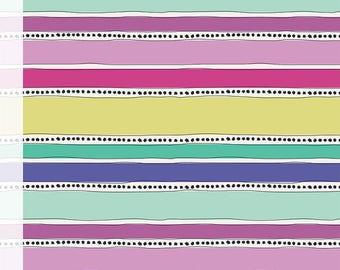 Half Yard, Geometric Bliss, Mobius Stripe Cool, Jeni Baker, Art Gallery, Mint, Lavendar, Purple, Yellow, Quilting Cotton, Fabric Sale