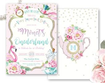 Onederland Birthday Invitation, Alice in Wonderland Invite, Onederland Tea Party Invitations, 1st Birthday Invitation, ONEderland Invite