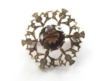 Smokey Quartz Silver Thistle Brooch