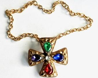 Rhinestone Maltese cross Brooch/Pendant on Chain