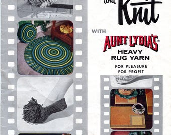 Crochet and Knit with Aunt Lydia's Heavy Rug Yarn from American Thread Co (Star Book No 146)   Craft Book