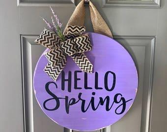 Door Hanger, Spring Door Decor, Front Door Wreath, Spring Wreaths, Hello Spring, Lavender Decor, Wood Round Door Sign, Easter Door Hanger