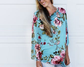 Summer Floral Nursing Cover Poncho - Multi Functional - Swaddle, Maternity Top, Car Seat Cover, and More!