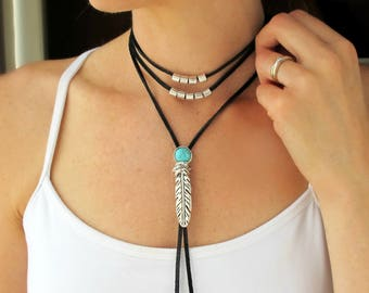 Festival Necklace-Leather Choker-Leather Necklace-Boho Choker Necklace-Turquoise Choker Necklace-Festival Jewelry-Bohemian Choker Necklace