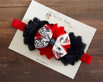 New England Patriots Headband. Patriots Headband. Shabby Flower Headband.