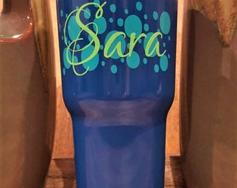 Personalized Powder Coated Tumbler (Mug). Polka Dot Background/Name Decal. Choose decal color, tumbler color & size.Perfect for gift giving.