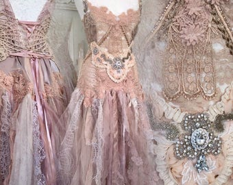 Boho wedding dress handmade,bridal gown rose,open back wedding dress,boho wedding blush,rustic wedding dress,wedding dress pagan,elven