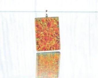 Fused Glass Pendant - Elegant Dichroic Glass Necklace - Shimmering Lava Orange Pendant-Dichroic Jewelry-Fused Glass Jewelry. JBT510
