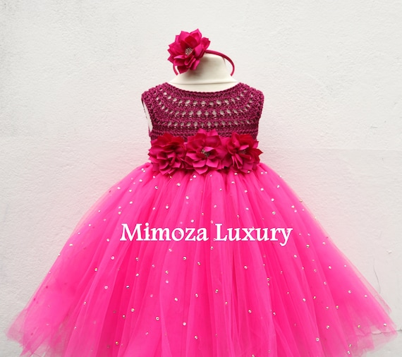 SALE size 12-18m, 18-24m Ready to ship, magenta birthday dress, Flower girl dress tutu dress, bridesmaid dress, princess dress, top tulle