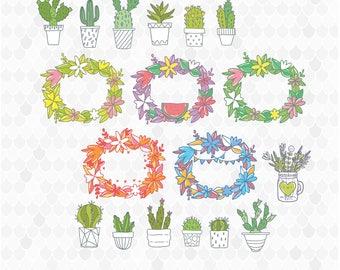 Succulent Clipart, Wreaths Clip Art, Cactus Clipart, House Plants, SVG Files, Cactus Graphics, Tribal Clipart, Boho Graphics, Rustic