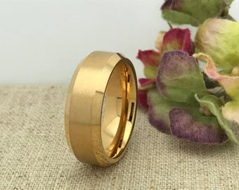 8mm Tungsten Wedding Ring, Personalized Engrave Yellow Gold Plated Tungsten Ring, Unisex Ring, Promise Ring Free Engraving