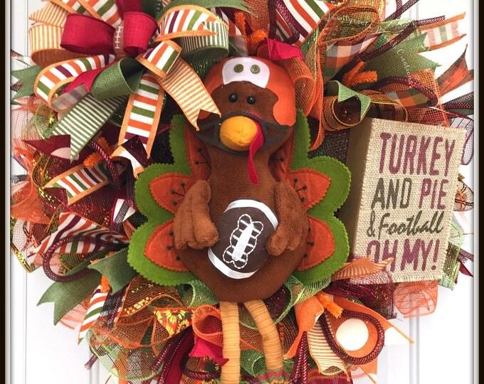 Fall Wreath - Turkey Wreath - Football Wreath - Deco Mesh Fall Wreath - Deco Mesh Football Turkey Wreath