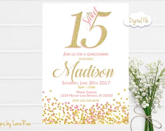 Quinceanera Invitation, Sweet 15 Birthday Party, Quinceanera Party Invitation , Sweet 15 Birthday Party, pink and gold, Quince Digital file
