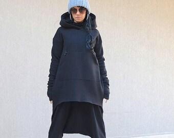 Oversize dress top, maxi hooded top, maxi hoodie, maxi top hoodie, extravagant blouse, asymmetric top, baggy top, loose jacket, black jacket