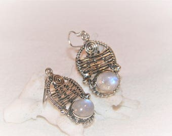 old 1970's style sterling silver earrings, sterling silver wire wrapped earrings with moonstone,unique moonstone earrings