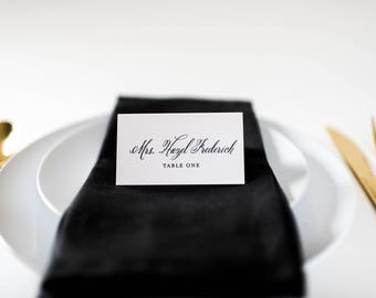 hazel place cards / escort cards (sets of 10) // flat or folded wedding place cards / black calligraphy neutral modern classic