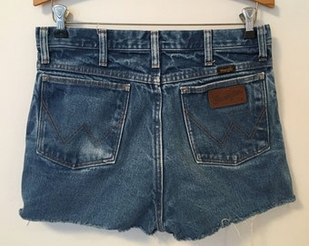 Cut Off Shorts - Wrangler Shorts - Cut Off Jean Shorts - Cut Offs - Wranglers - Cutoffs - Fade - High Waist - 32