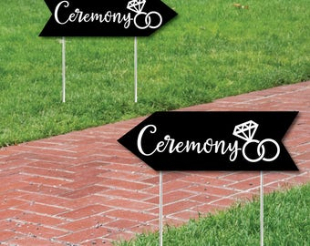 Wedding & Reception Signs - Black Wedding Ceremony Sign - Double Sided Directional Yard Signs - Wedding Sign Arrow - Set of 2 Ceremony Sign