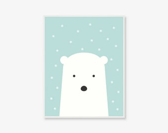 Baby Polar Bear Print | Animal Kids Poster