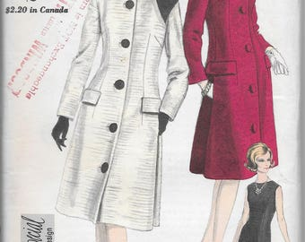 Vintage 1960s Vogue Special Design Sewing Pattern 5659 - Misses' One Piece Dress, Coat and Scarf size 12 bust 32, FF
