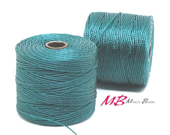 Green Blue S-Lon Macrame Cord 77 Yards, Nylon Beading Cord .5 mm