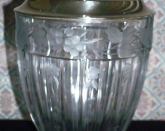 Vintage Elegant Antique Clear Etched Glass Pedestal Urn/Goblet Shaped Candy Jar with Silver Cover