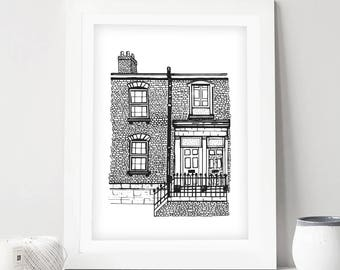 Custom Location Illustration | House Portrait, Special Place,Hometown, Location | Personalised Commission | Housewarming new home