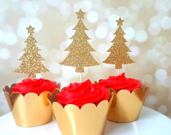 Christmas Cupcake Toppers, Christmas Tree Cupcake Toppers, Glitter Christmas Cupcake Toppers, Christmas Party Decorations, Holiday Toppers