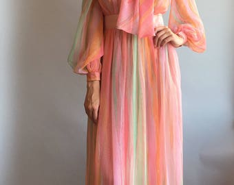 VTG 1970s Mollie Pernis Pastel Gown with Bow