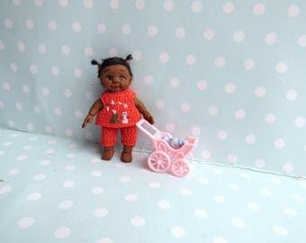 OOAK Baby GIRL doll. MOVEABLE Polymer clay artist doll. Handmade Dollhouse miniature doll. Art doll + Dummy + tiny Clothes