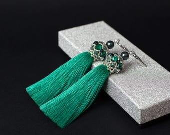 Statement earrings inspirational earrings silk tassel earrings fringe earrings turquoise earrings handmade earrings tassels jewelry bohemian